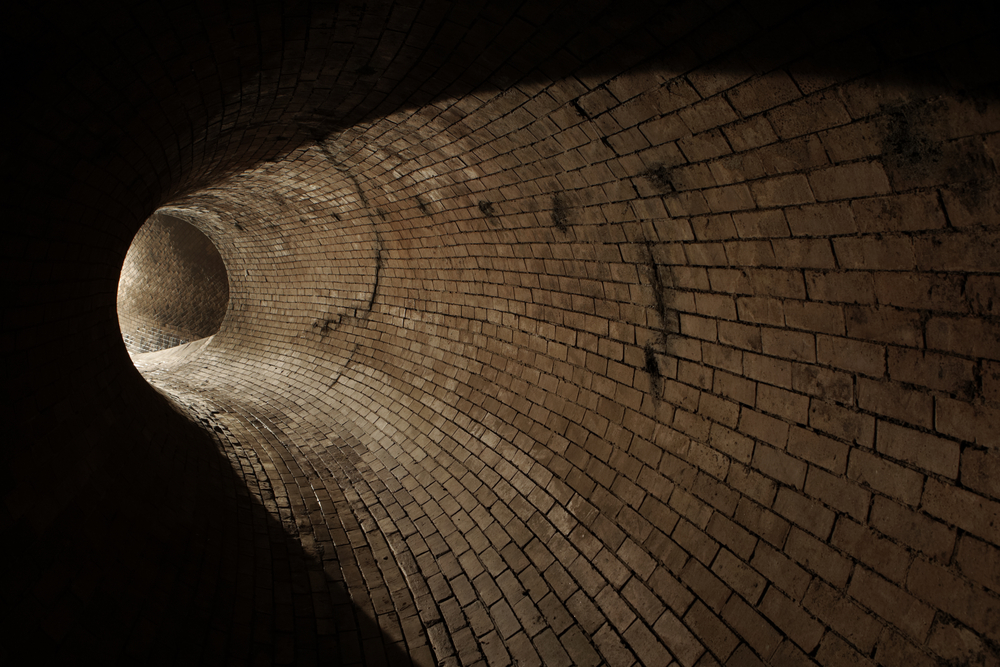 An old brick sanitary sewer in good condition
